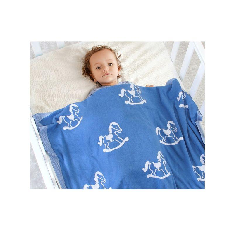 """Hobby the Horse"" Classic Knit Blanket - The Palm Beach Baby"