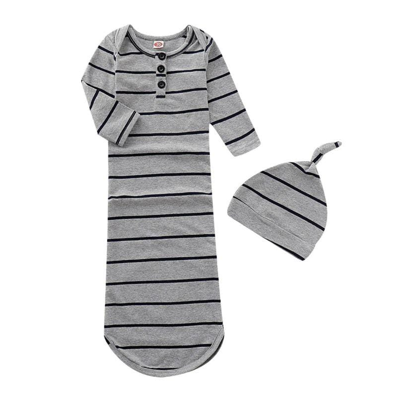 2 PC Baby's Stripe Sleeping Gown + Cap Set - The Palm Beach Baby