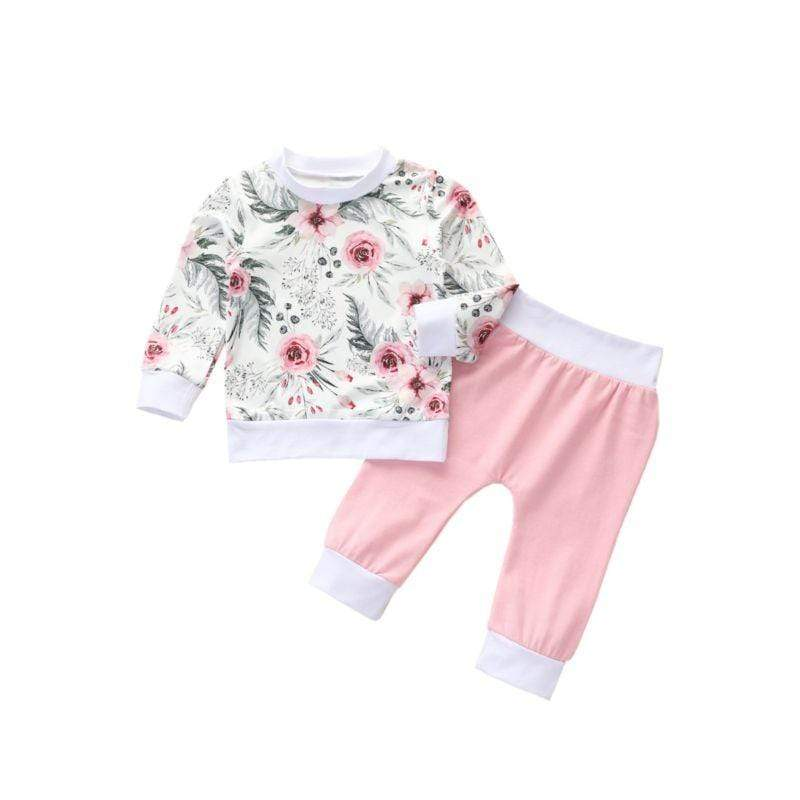 2 PC Floral Top And Pink Pant Warm-Up Set - The Palm Beach Baby
