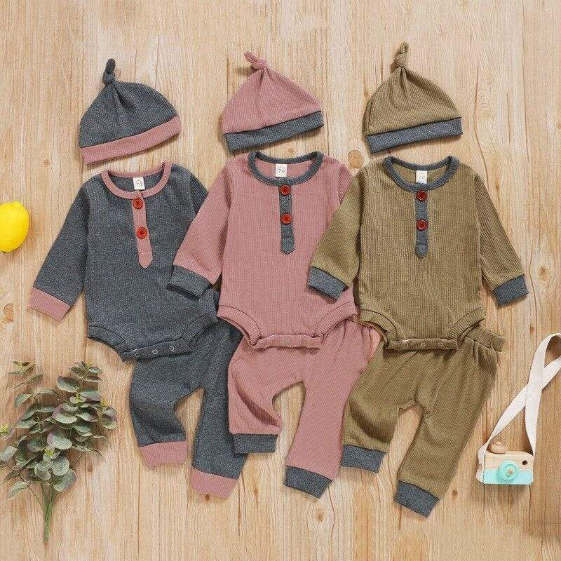 3 PC Autumn Romper + Pants + Cap Set - The Palm Beach Baby