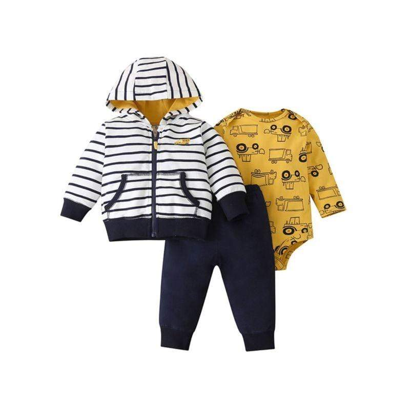 3 PC Truck Romper + Pants + Striped Hoodie Set - The Palm Beach Baby