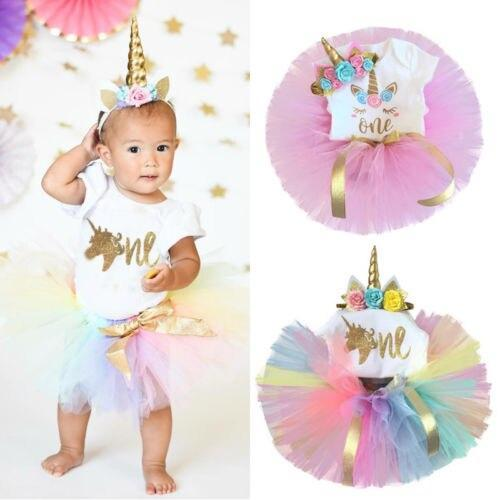 "Baby & Kids Apparel 3 PC ""Uni The Unicorn"" Birthday Tutu Set -The Palm Beach Baby"