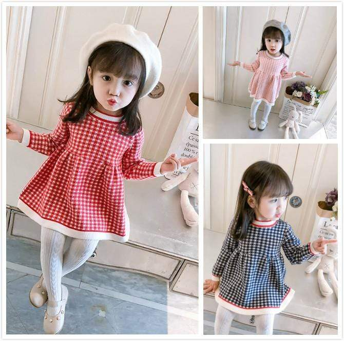Adorable Long-Sleeved Checked Dress - The Palm Beach Baby