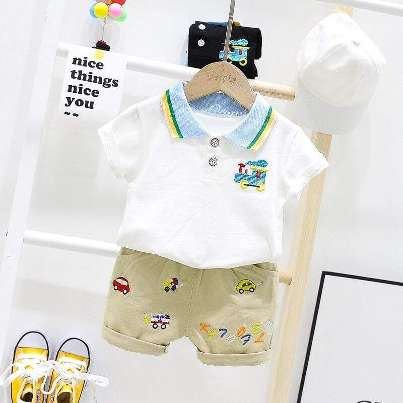 """Tommy Train"" Boys 2 PC Shorts Set - The Palm Beach Baby"