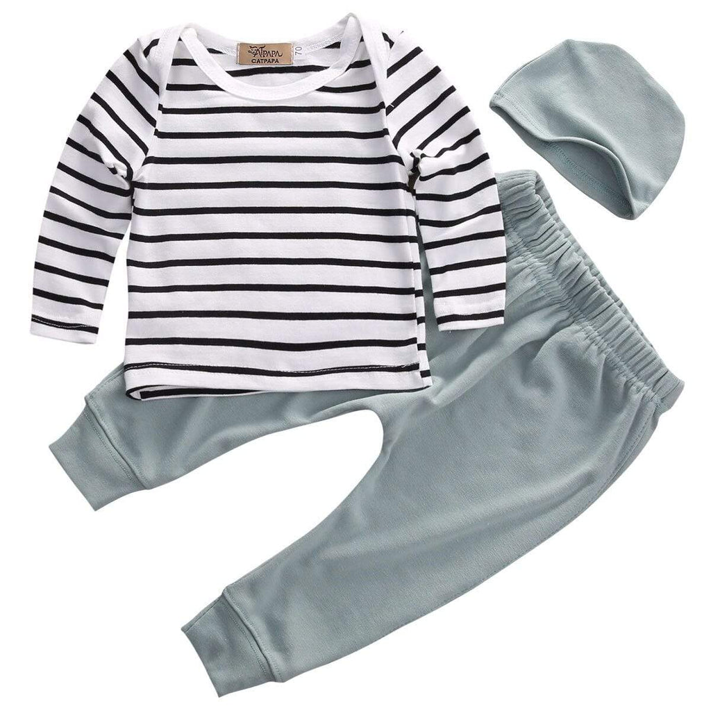 Babies 3 PC Knit Top + Pant Set With Cap - The Palm Beach Baby