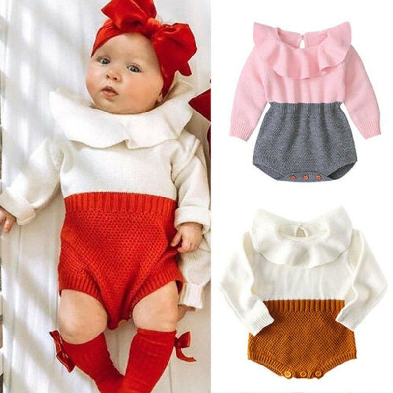 """Baby Carol-Ann"" Lotus Collar Knit Romper - The Palm Beach Baby"