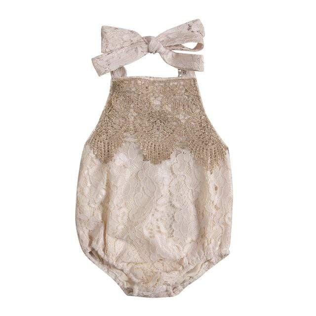 Baby Girl's Boho Lace Backless Romper - The Palm Beach Baby