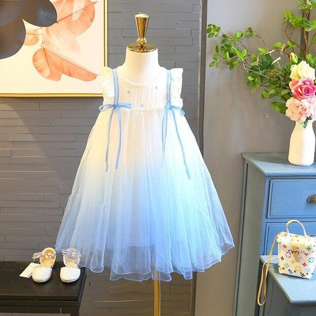 Baby & Kids Apparel Blue / 4T / United States Lovely White and Blue Ambre Party Dress -The Palm Beach Baby