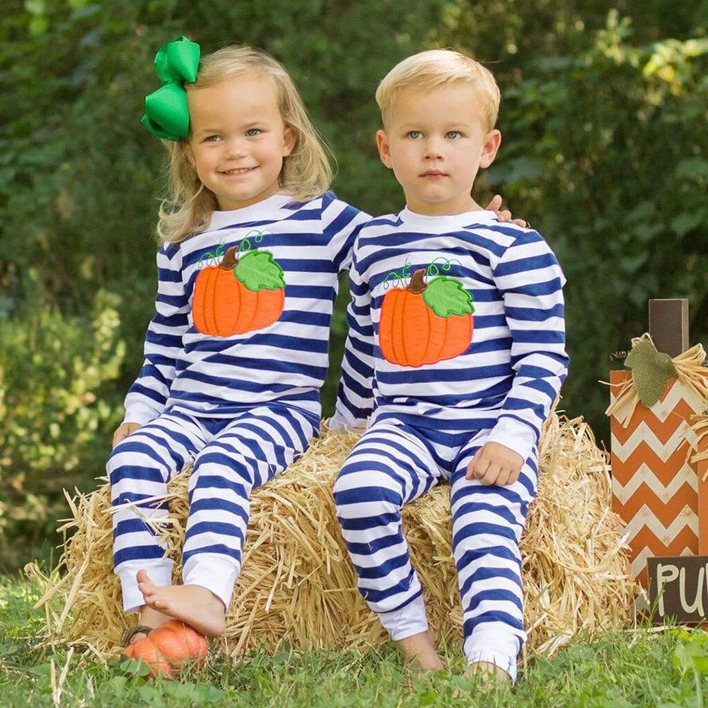 """Little Pumpkin"" Striped Pajamas - The Palm Beach Baby"
