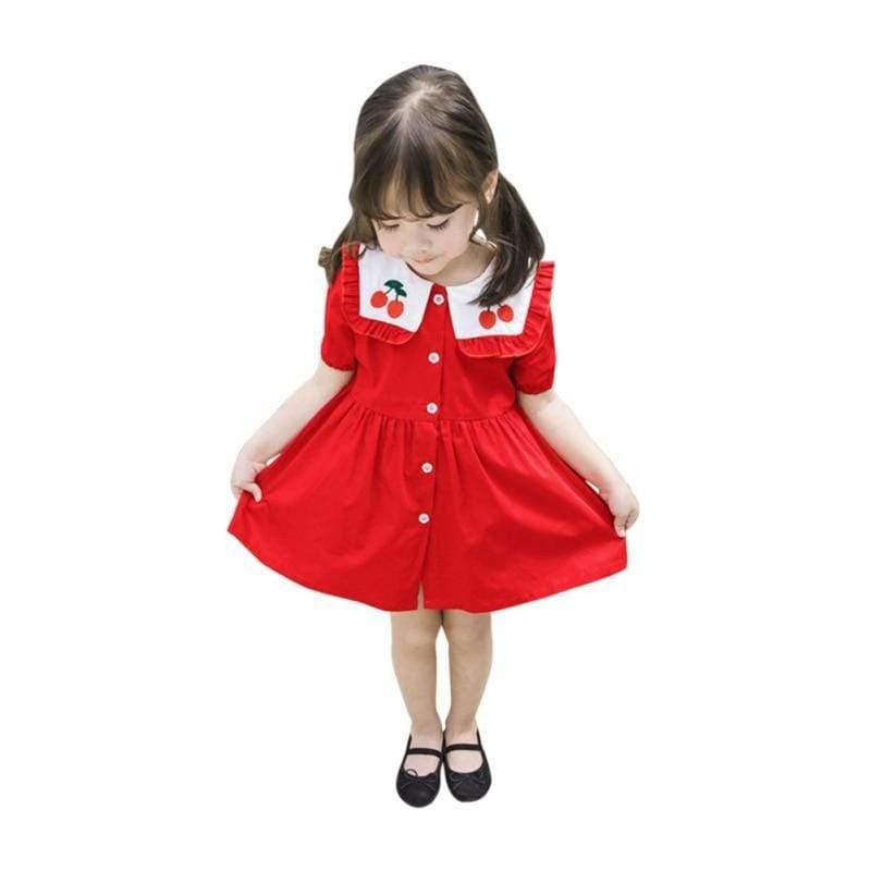 """Cherry Red"" Little Girls' Dress - The Palm Beach Baby"