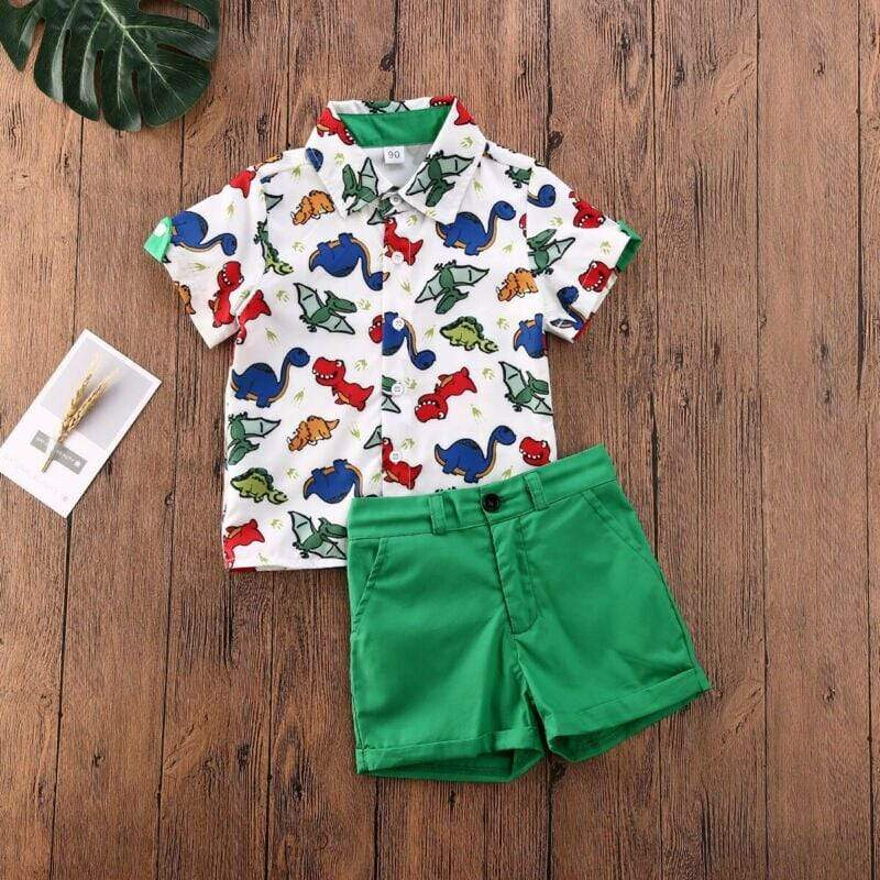 """Tyler"" Dinosaur Print Shirt And Shorts Set 1 - The Palm Beach Baby"