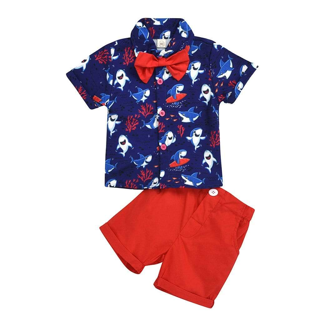 """Clarkson"" Shark Print Shirt And Shorts Set - The Palm Beach Baby"