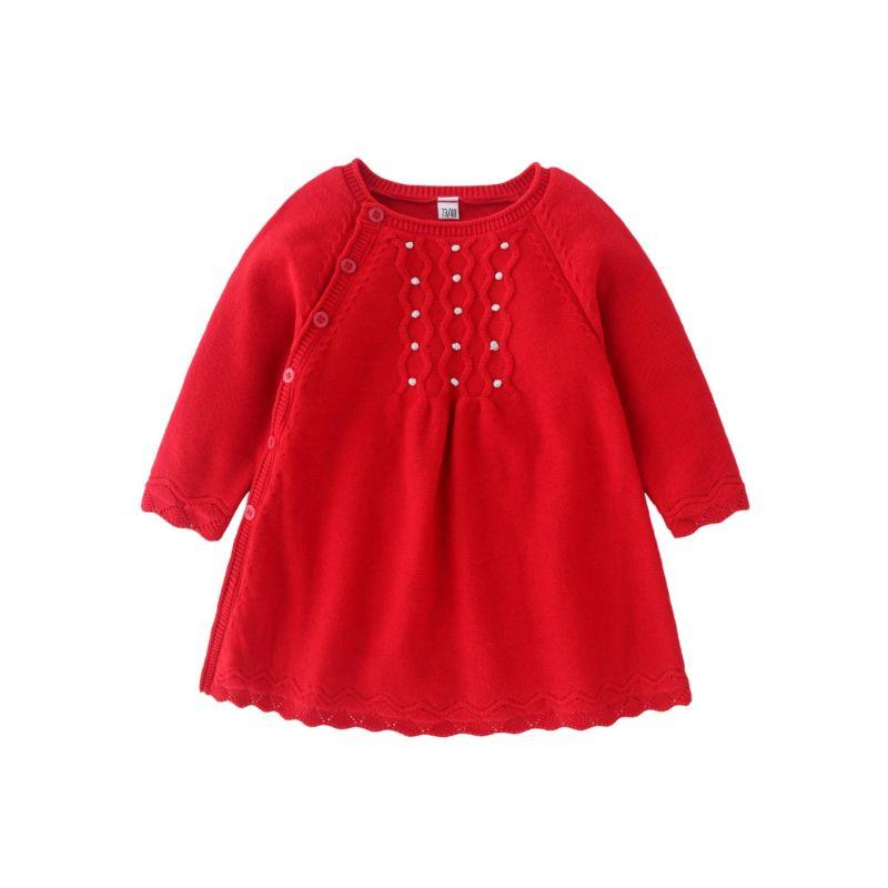 """Colleen-Ann"" Red Knit Dress - The Palm Beach Baby"