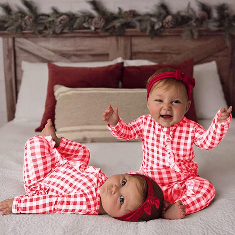 """Cute In Checks"" Baby Romper Set - The Palm Beach Baby"