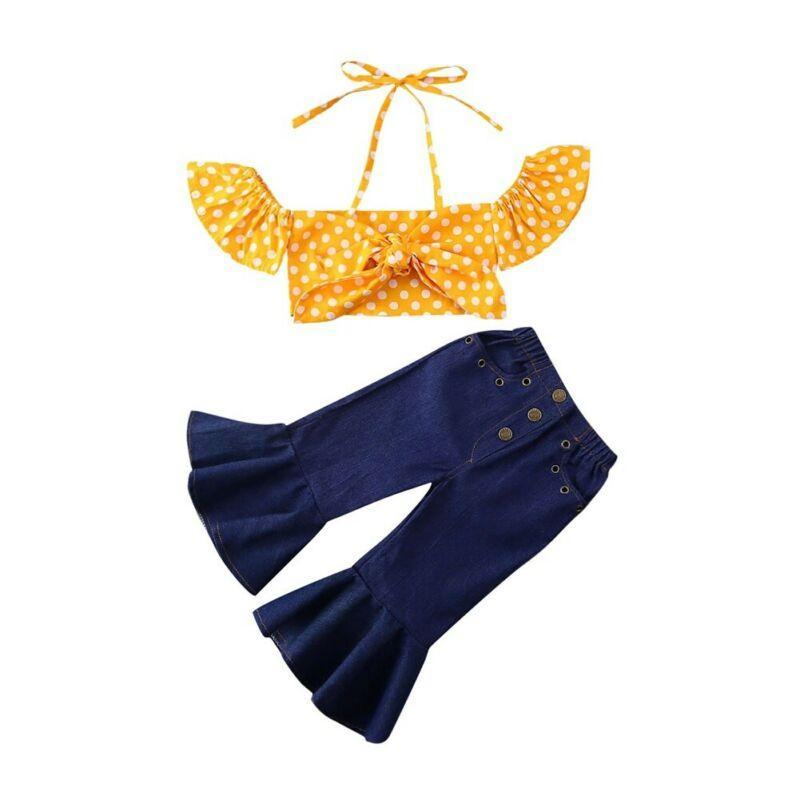 "Cute Retro ""Daisy"" 2 PC Jean Set - The Palm Beach Baby"