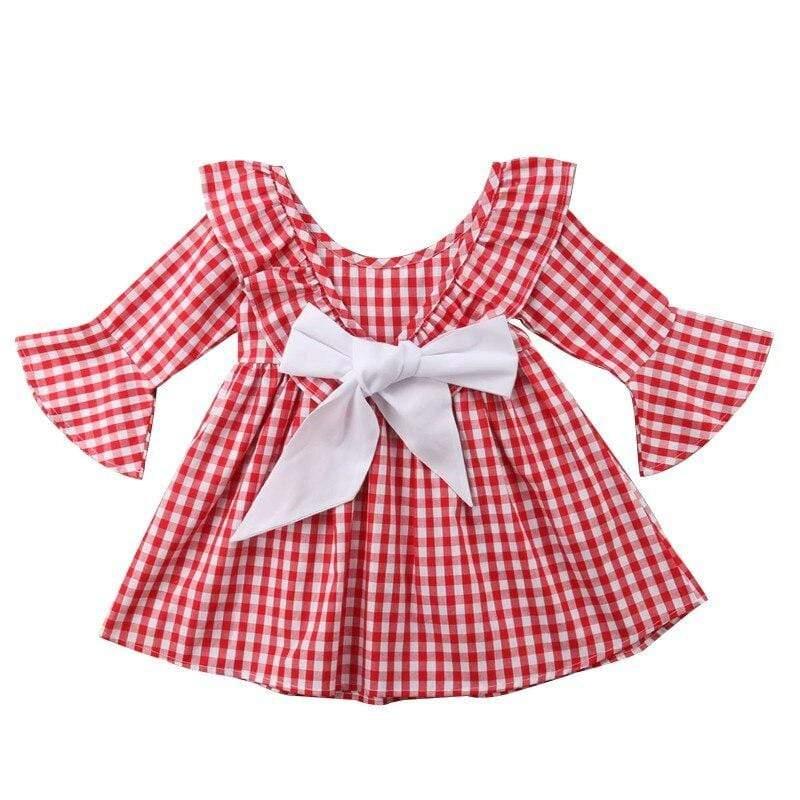 """Emilia"" Red Check Dress With Big Bow - The Palm Beach Baby"