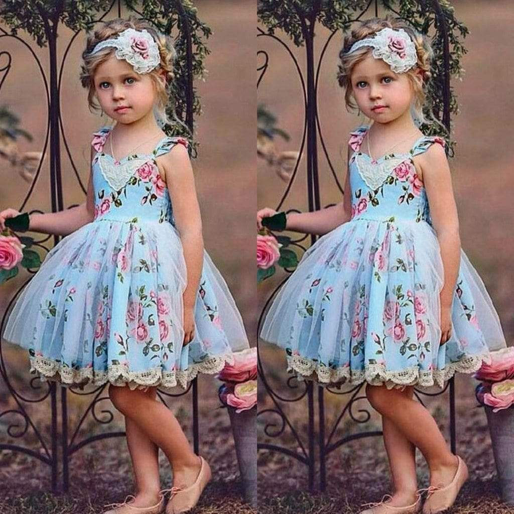 """Emily-Ann"" Blue Floral Dress With Lace Accents - The Palm Beach Baby"
