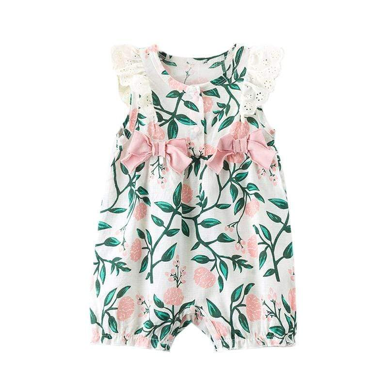 Floral Print Flared Sleeved Romper - The Palm Beach Baby