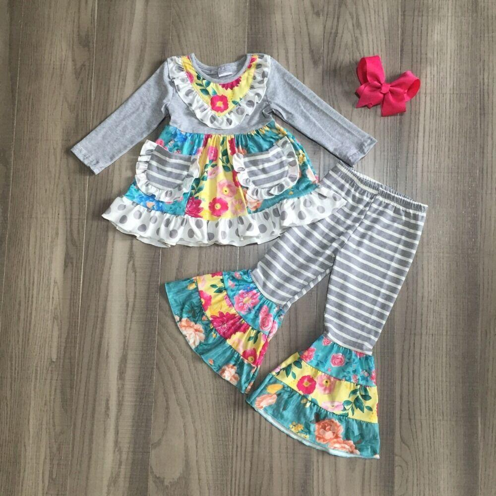 """Flower Child"" Tunic + Bell Bottoms 3 PC Set - Gray - The Palm Beach Baby"