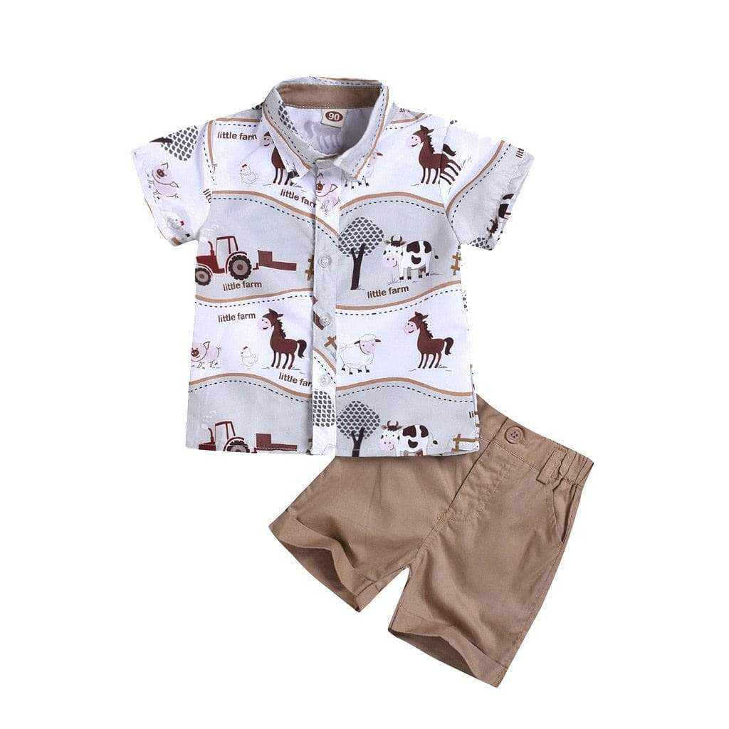 """Farm Animal"" Print Shirt With Khaki Shorts Set - The Palm Beach Baby"