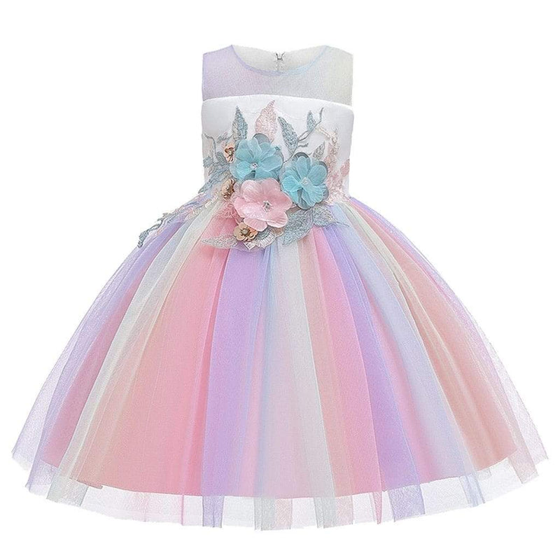 Girls Floral Rainbow Special Occasion Dress - The Palm Beach Baby