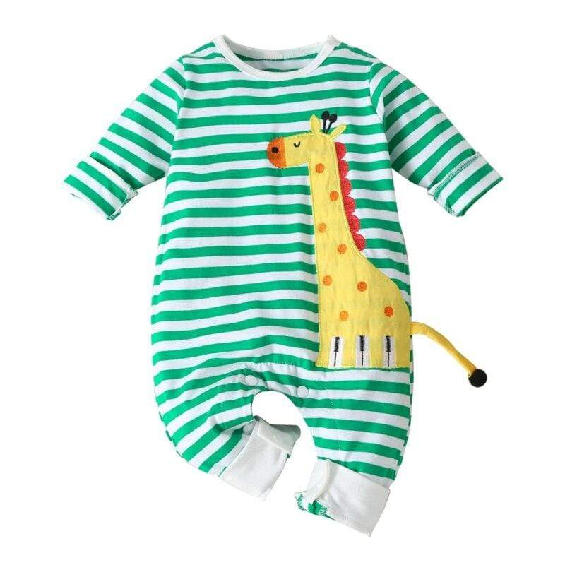 """Jerry Giraffe"" Long-Sleeved Romper Jumpsuit - The Palm Beach Baby"