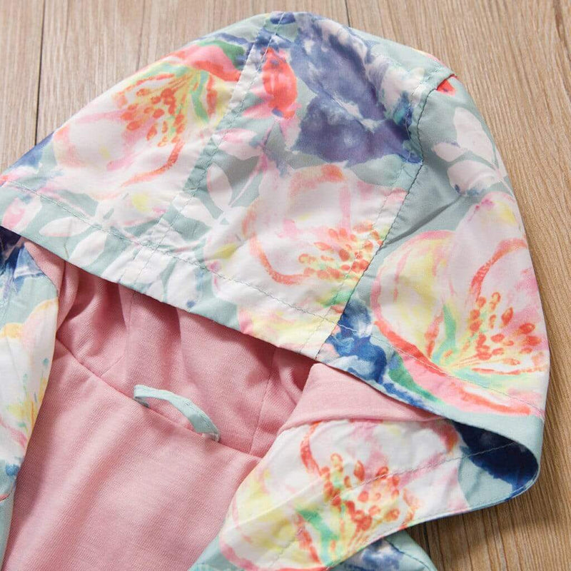 Hooded Floral Windbreaker Jacket - The Palm Beach Baby