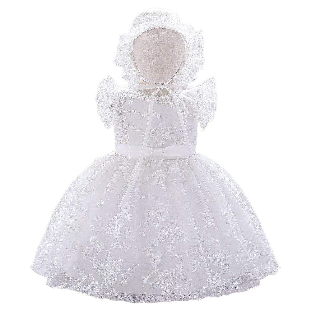 """Kara"" White Lace Baptism Dress With Bonnet - The Palm Beach Baby"