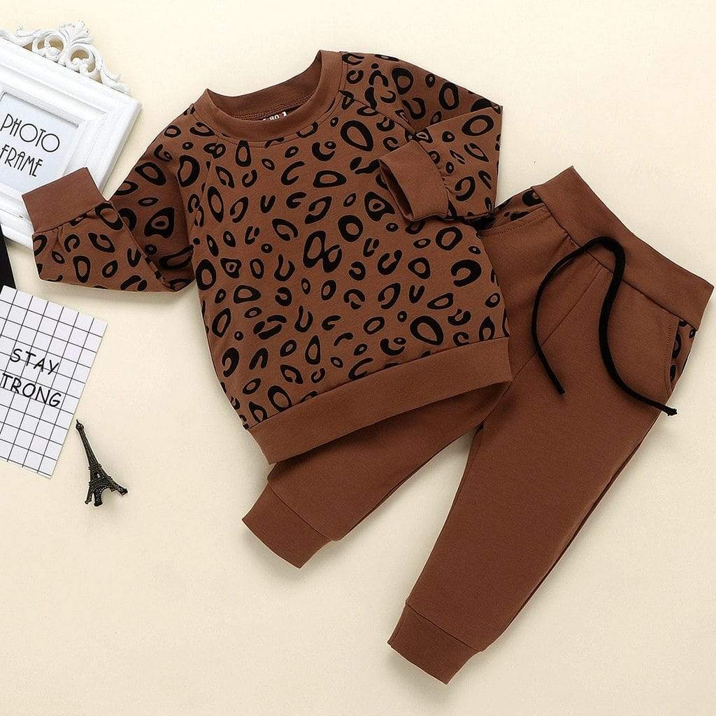 """Leopard Fun"" 2 PC Warm-Up/Track Suit - The Palm Beach Baby"