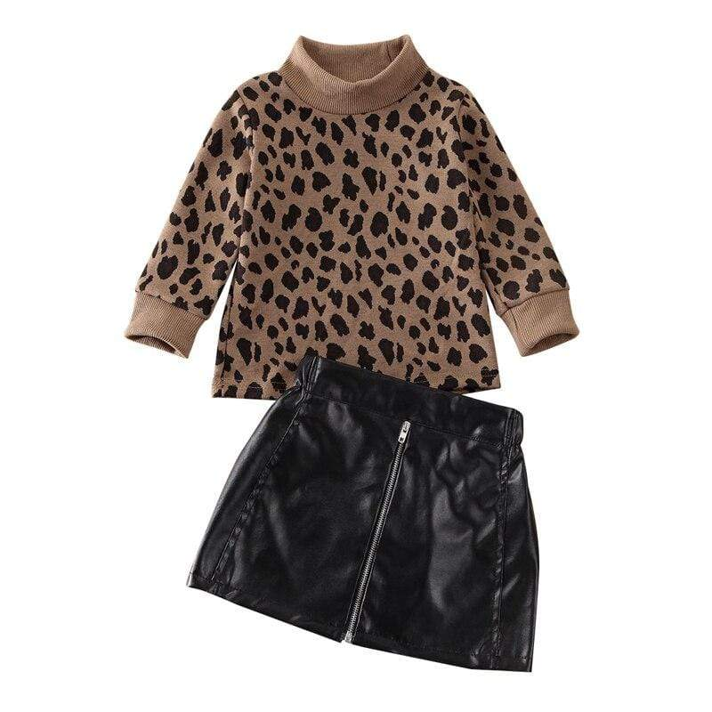 """Leopard Fun"" Pullover Top + Skirt Set - The Palm Beach Baby"