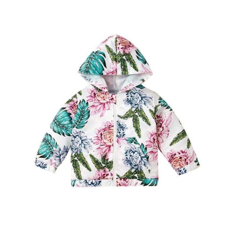 Little Girl's Hawaiian Print Hoodie Jacket - The Palm Beach Baby