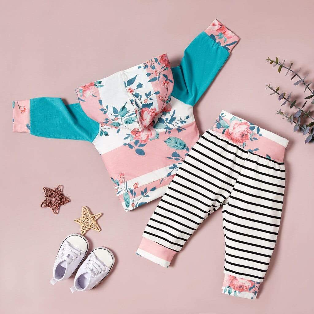 Little Girls Floral & Stripes 2 PC Outfit - The Palm Beach Baby