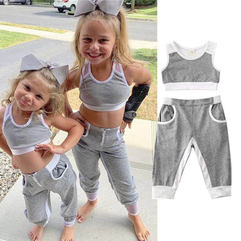 Little Girls Gray 2 PC Tank Top Track Suit - The Palm Beach Baby