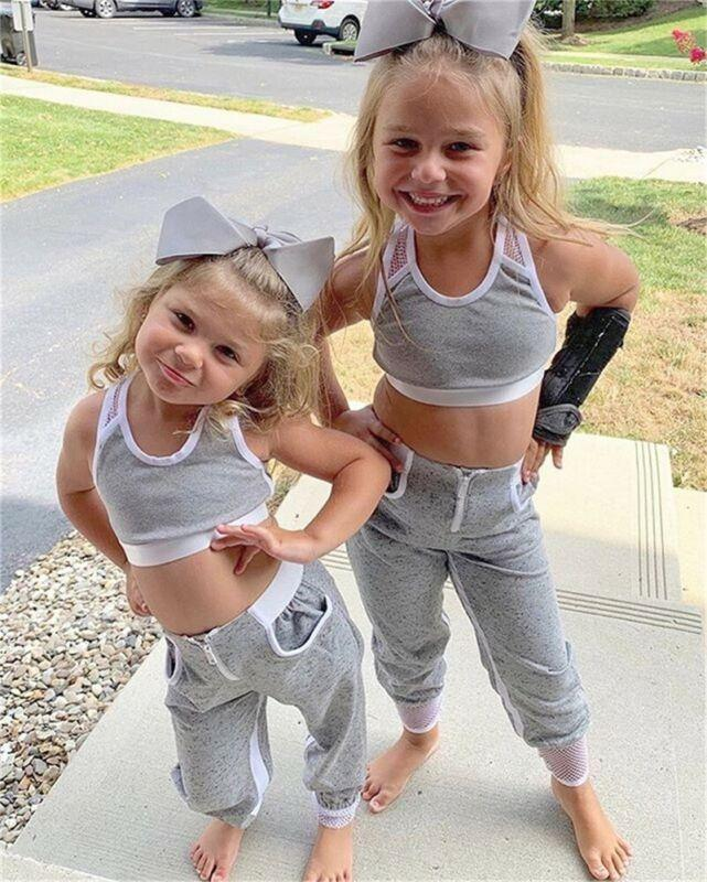 Little Girls Gray Tank Top Track Suit - The Palm Beach Baby