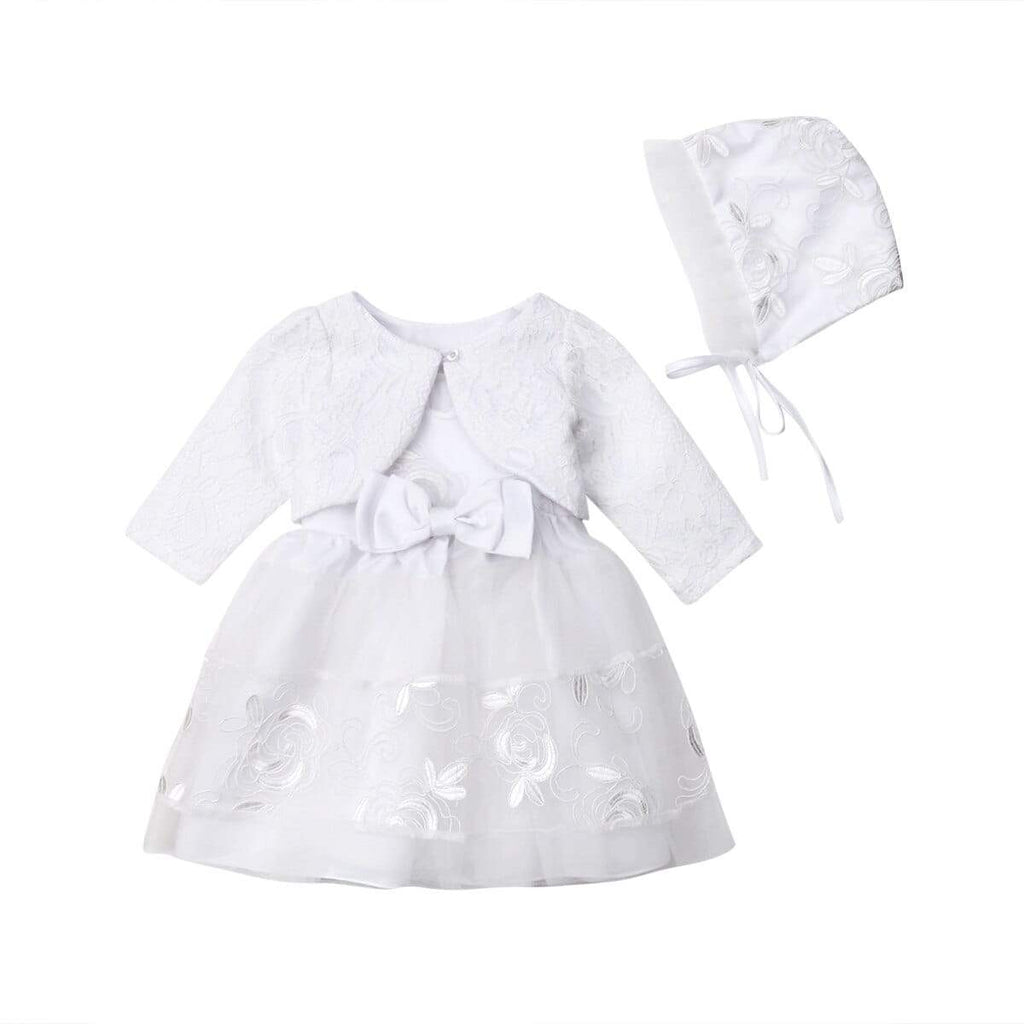 Lovely 3 PC Lace Baptism Party Dress - The Palm Beach Baby
