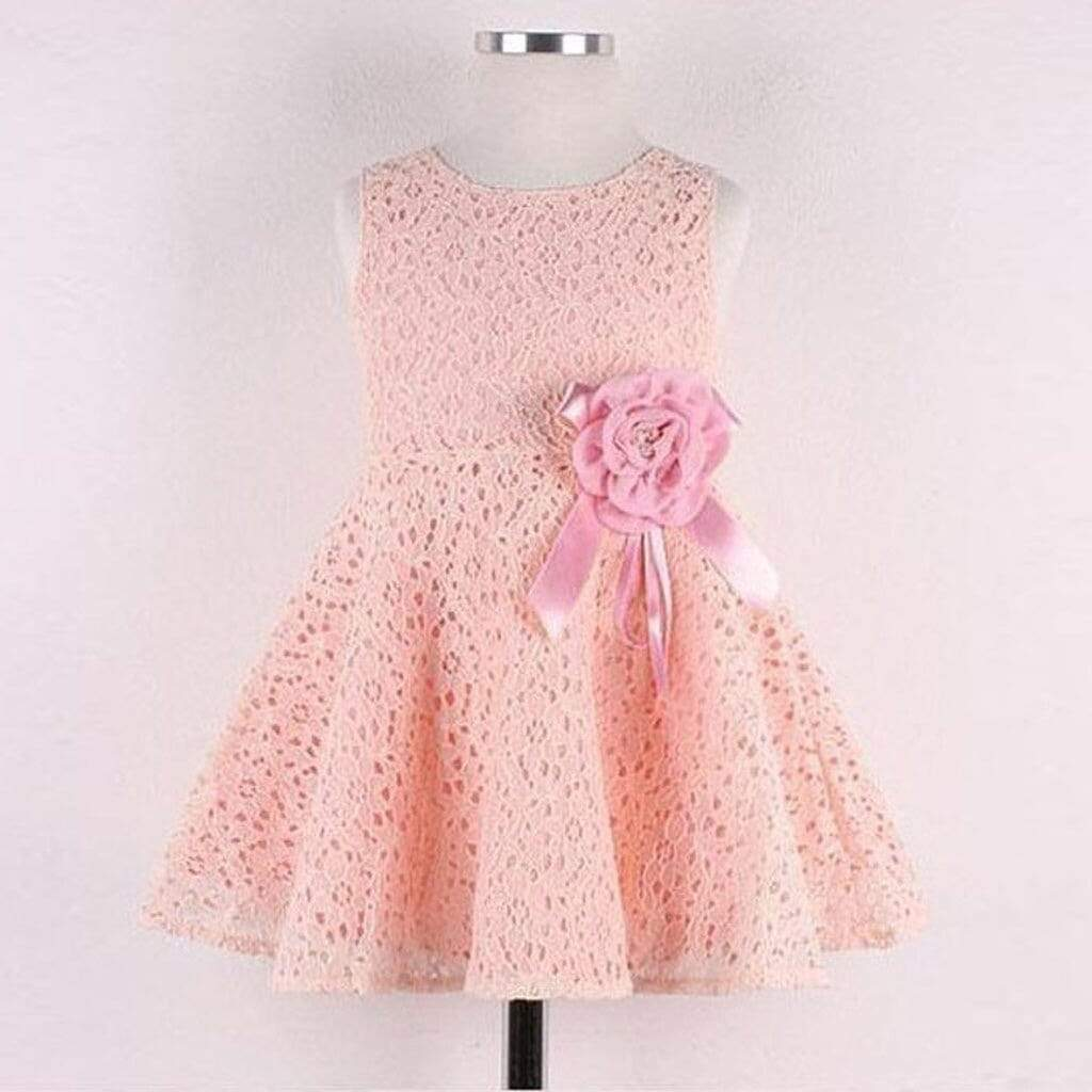 "Baby & Kids Apparel ""Pamela"" Flower Lace Dress -The Palm Beach Baby"