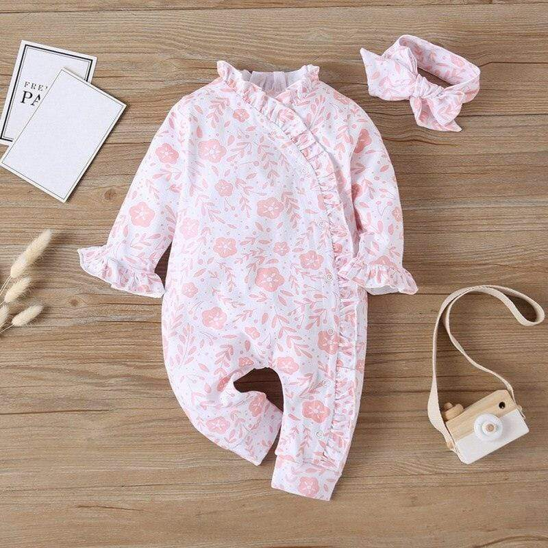Pink Posies 2 PC Romper Set - The Palm Beach Baby