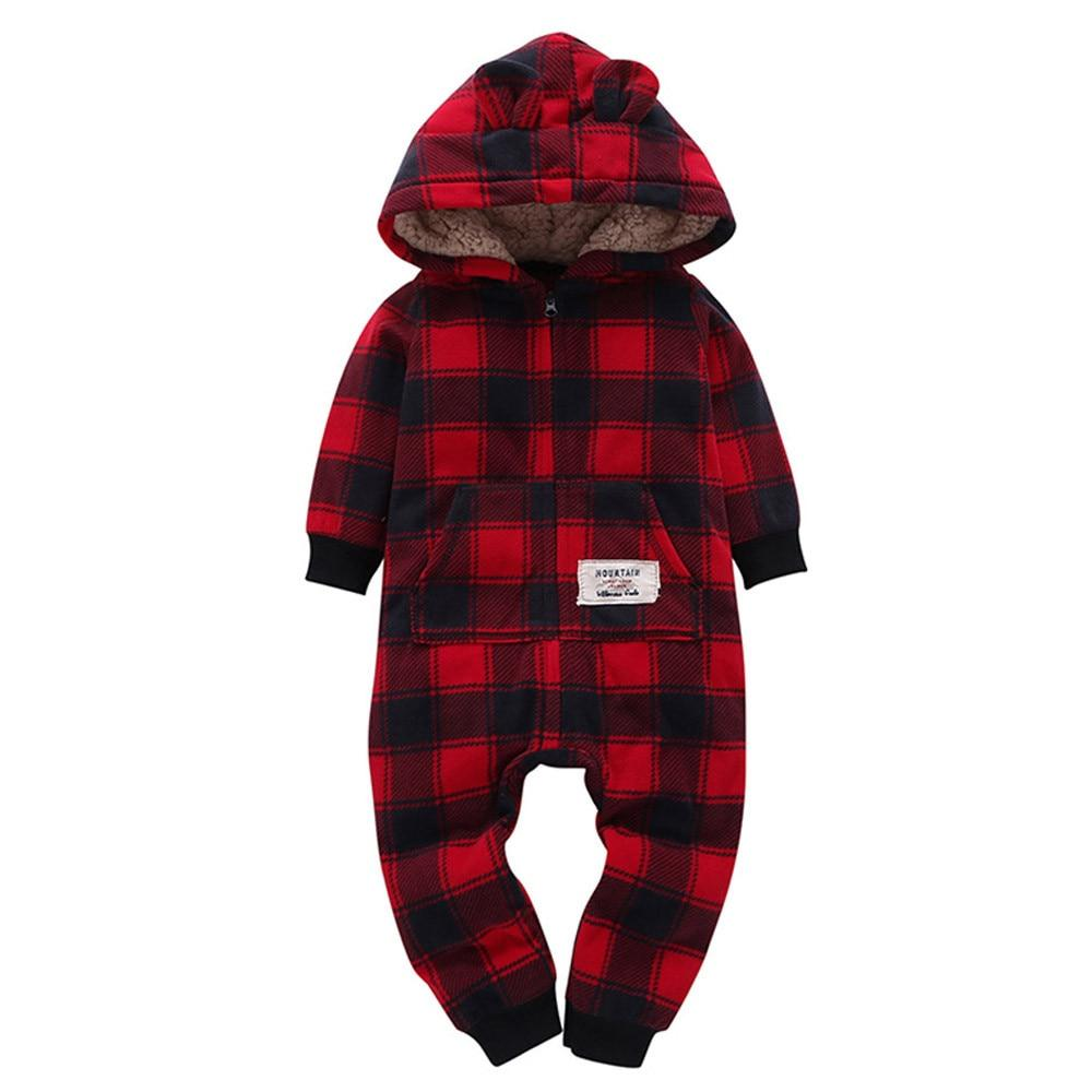 Plaid Hooded Fleece-Lined Romper - The Palm Beach Baby