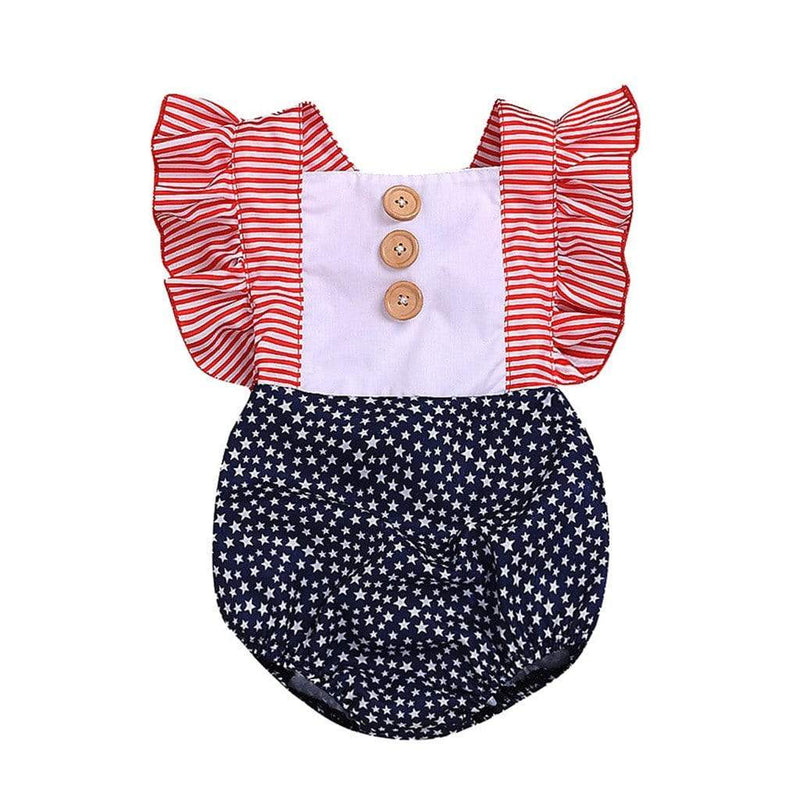 """Precious In Red White & Blue"" Romper - The Palm Beach Baby"