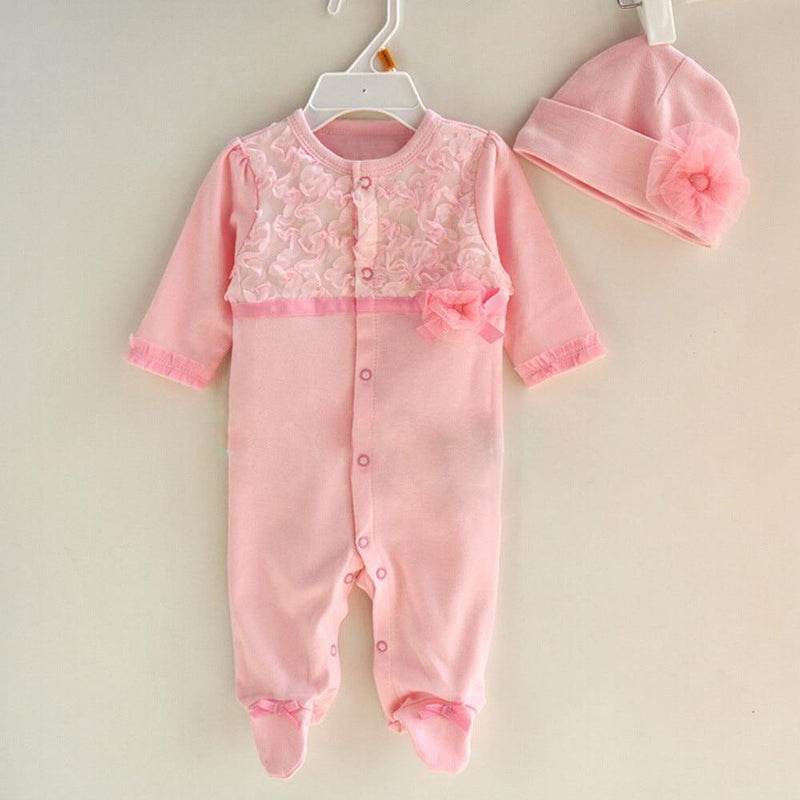 """Priscilla"" Pink Lace Romper Set - The Palm Beach Baby"