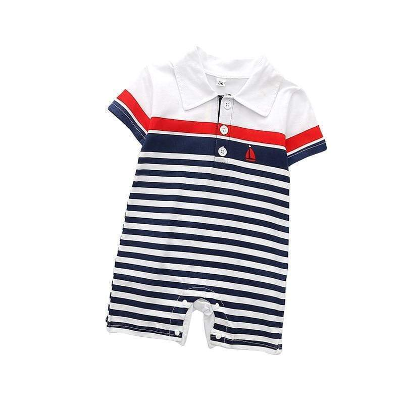 "Baby & Kids Apparel ""Sailing, Sailing"" Polo-Style Romper -The Palm Beach Baby"