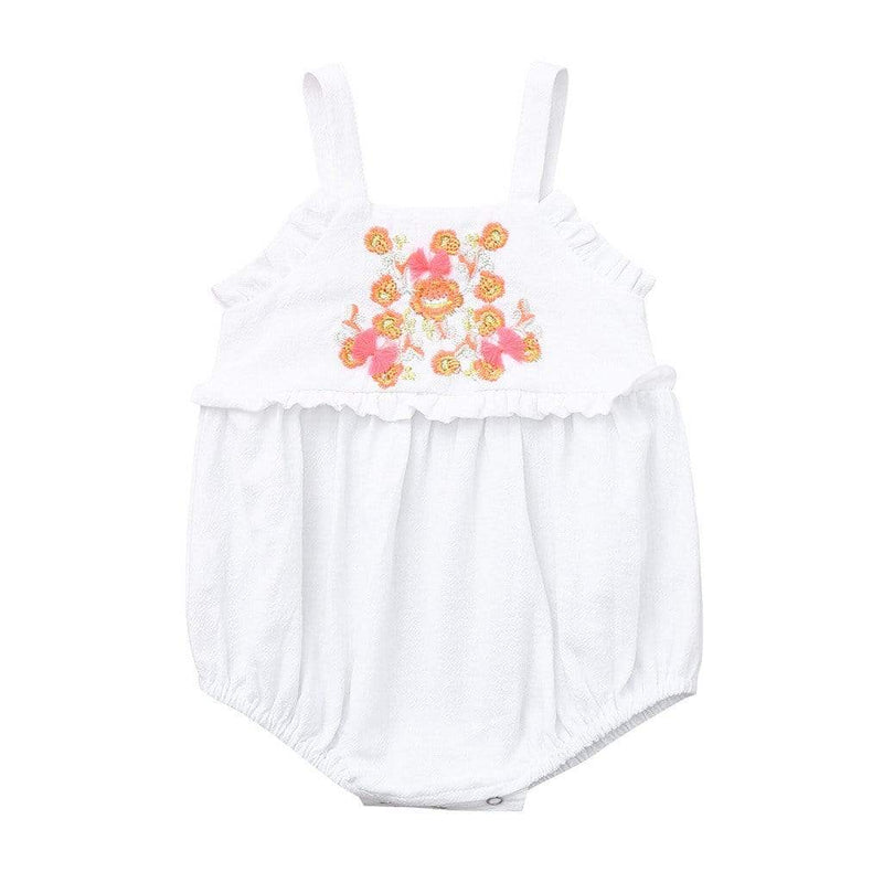 """Sara"" Embroidered Flowers Romper - The Palm Beach Baby"