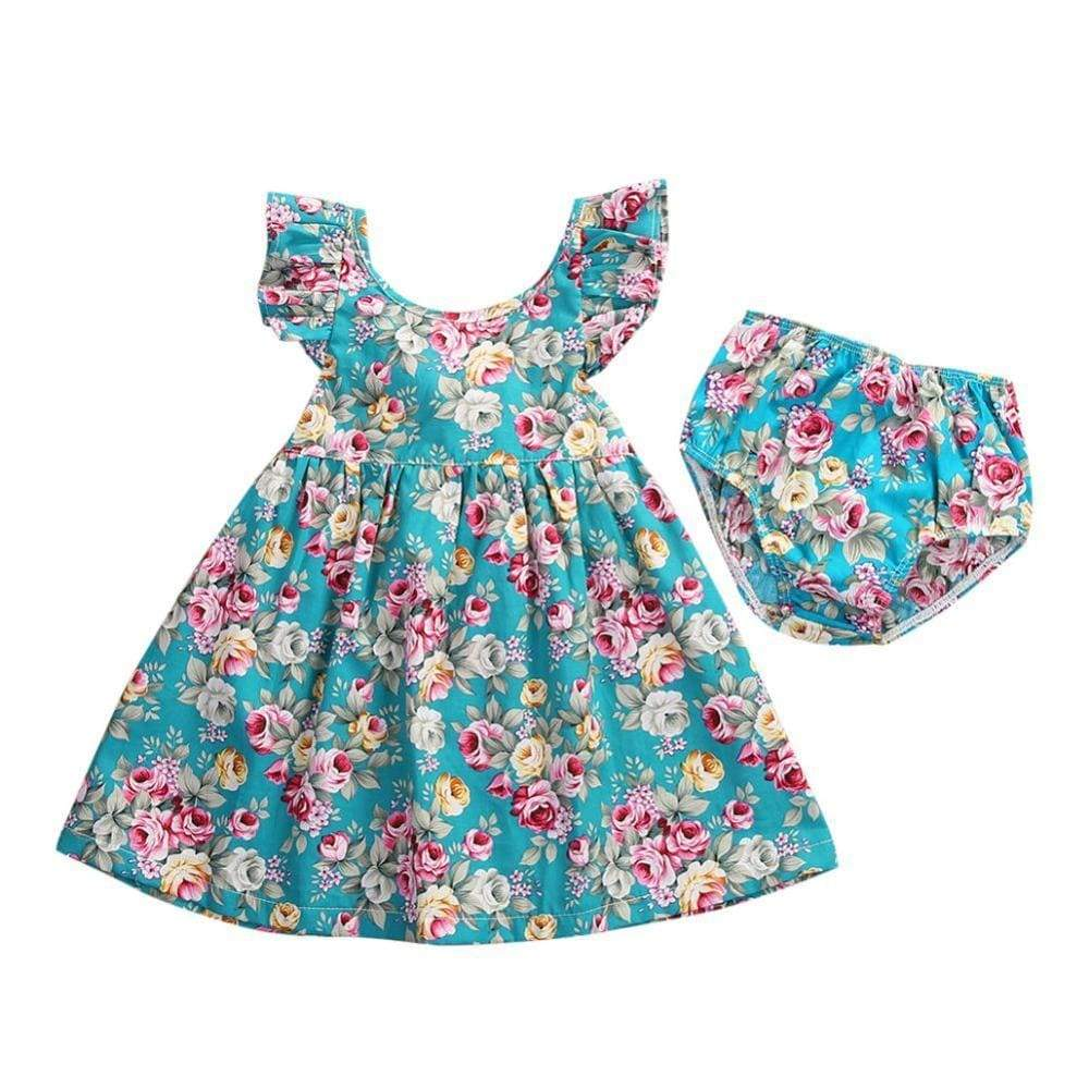 """Shayla"" 2PC Floral Dress With Bloomers - The Palm Beach Baby"