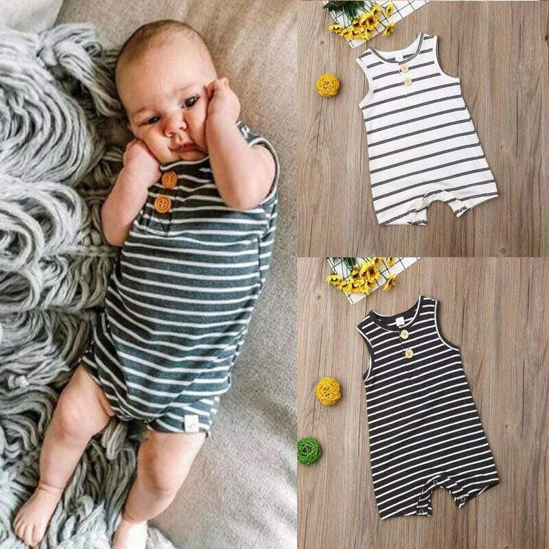 """Summer Ready"" Trendy Striped Romper - The Palm Beach Baby"