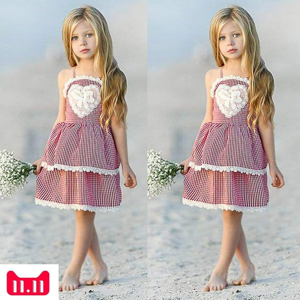 "Baby & Kids Apparel ""Sweetheart Girl"" Checked Sun Dress -The Palm Beach Baby"