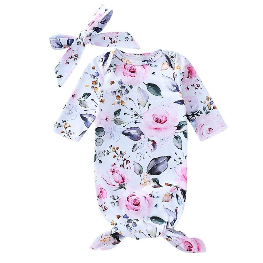 """Tamara"" Infant's Floral Sleeping Gown (2 Colors) - The Palm Beach Baby"
