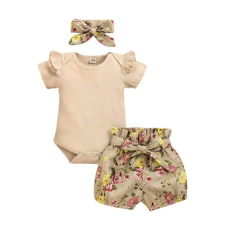 "The ""Coco"" 3 PC Romper Shorts Set - The Palm Beach Baby"