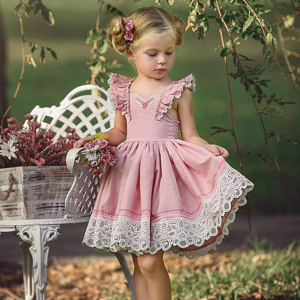 """Pauline"" Pink Ruffled Dress - The Palm Beach Baby"