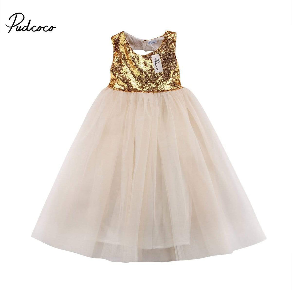 "Baby & Kids Apparel The ""Simone"" Sequined Tulle Gown -The Palm Beach Baby"