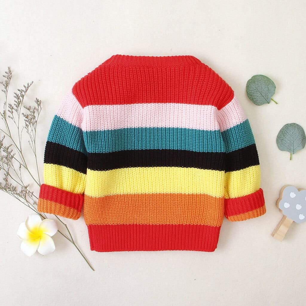 Thick Rainbow Striped Pullover Sweater - The Palm Beach Baby